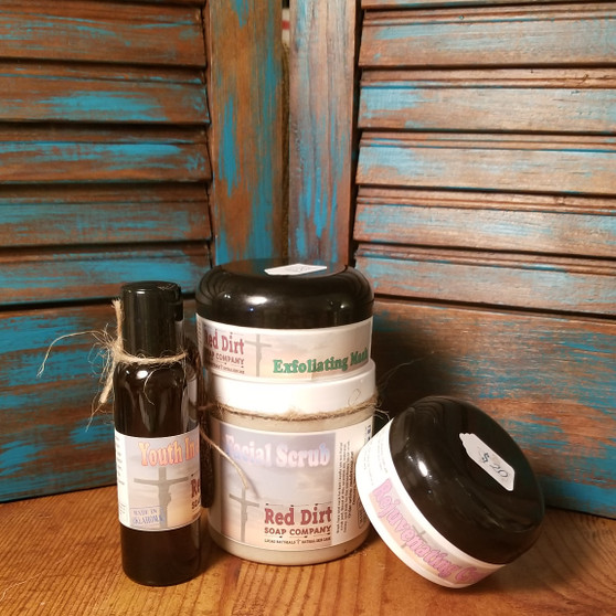 4 step facial large, natural skin care, facial, red dirt soap, essential oils, healthy skin