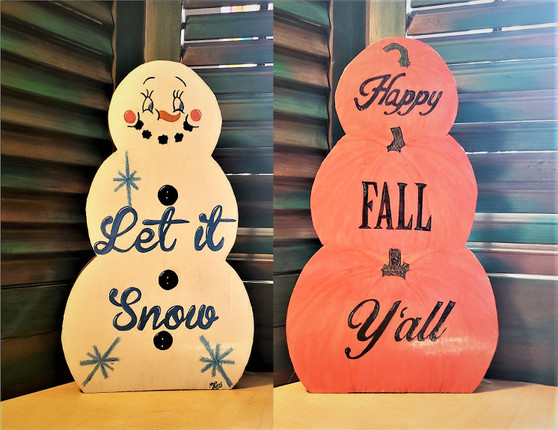 2 Sided Holiday Decor Happy Fall Y'All Let It Snow