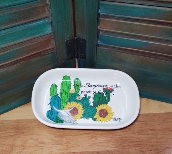 sunflower, cactus, cacti, soap dish, ceramic, red dirt soap, handmade, made in oklahoma, natural skin care