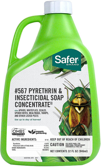 Safer Pyrethrin & Insecticidal Soap II Conc. Quart