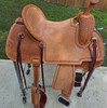 New Jackson Stock Saddle by Fort Worth Saddle Co with 15 inch seat. Light oil Hermann Oak leather. Roughout contact points and pencil roll seat for secure ride. Gullet size is 7 inch, weight is 28lbs, and skirt is 27.5 inch. Made in USA. Limited lifetime warranty.  S1304