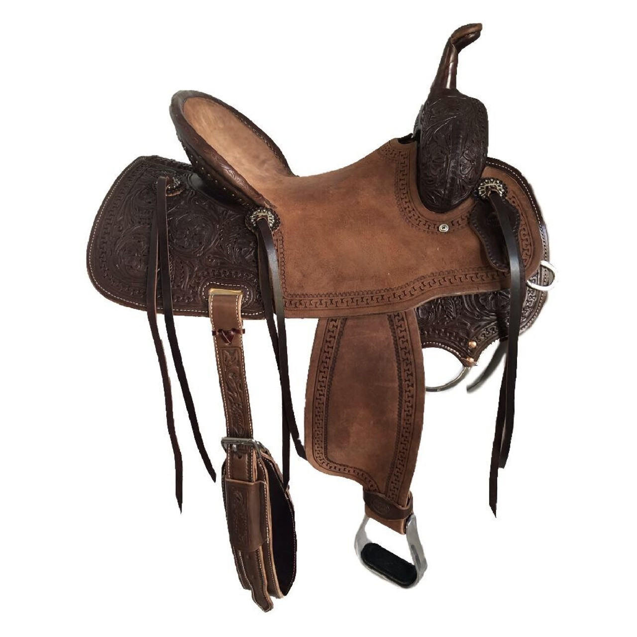 New Jackson Stock Saddle by Fort Worth Saddle Co with 15 inch seat.  Chocolate color, half breed construction. Pencil roll seat.  Gullet size is 7.75 inch, weight is 26lbs, and skirt is 26 inch. Made in USA. Limited lifetime warranty.  S997