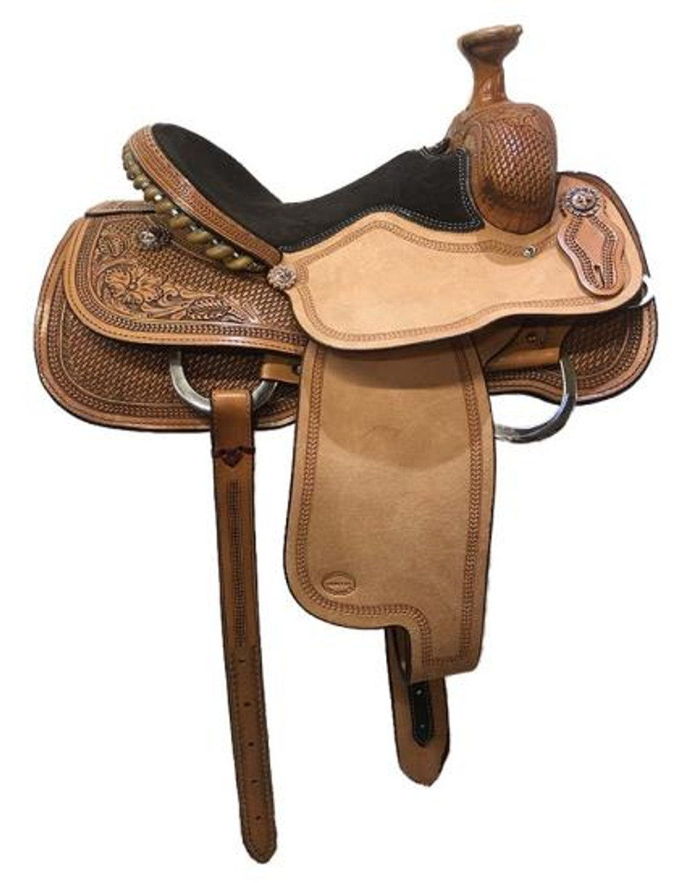 "Fort Worth Saddle Co  Arena Roper Saddle with 14"" seat, 7.5"" gullet.  Made in USA.   Heavily tooled skirts, fork, cantle. Padded seat, rough-out jockeys and fenders with border tooling. Cheyenne roll cantle with metal wrapped rawhide."