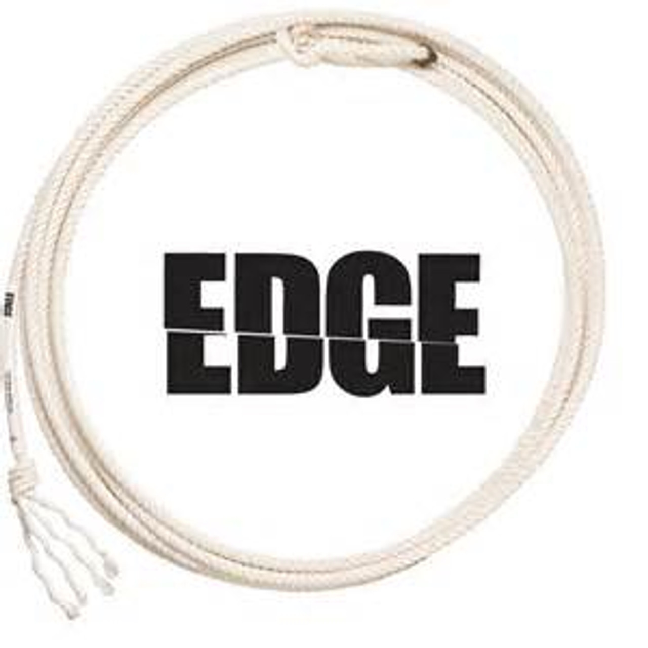 Edge The Edge is a four-strand white poly calf rope made from 100% American made texturized poly fiber. Stays true in all weather conditions. After breaking in, there is very little stretch and they are extremely durable. Smooth and quick with a lot of action. Very low maintenance.  Stays true in all weather Little stretch Low maintenance Extremely durable Smooth and quick 4-STRAND 100% Texturized Poly AVAILABLE IN: Calf Ropes LAYS: XS S LENGTH: 29 DIAMETER: 9.0, 9.5, 10.0, 10.25, 10.5, 10.75 EVENT: Tie-Down, Breakaway, Steer Roping