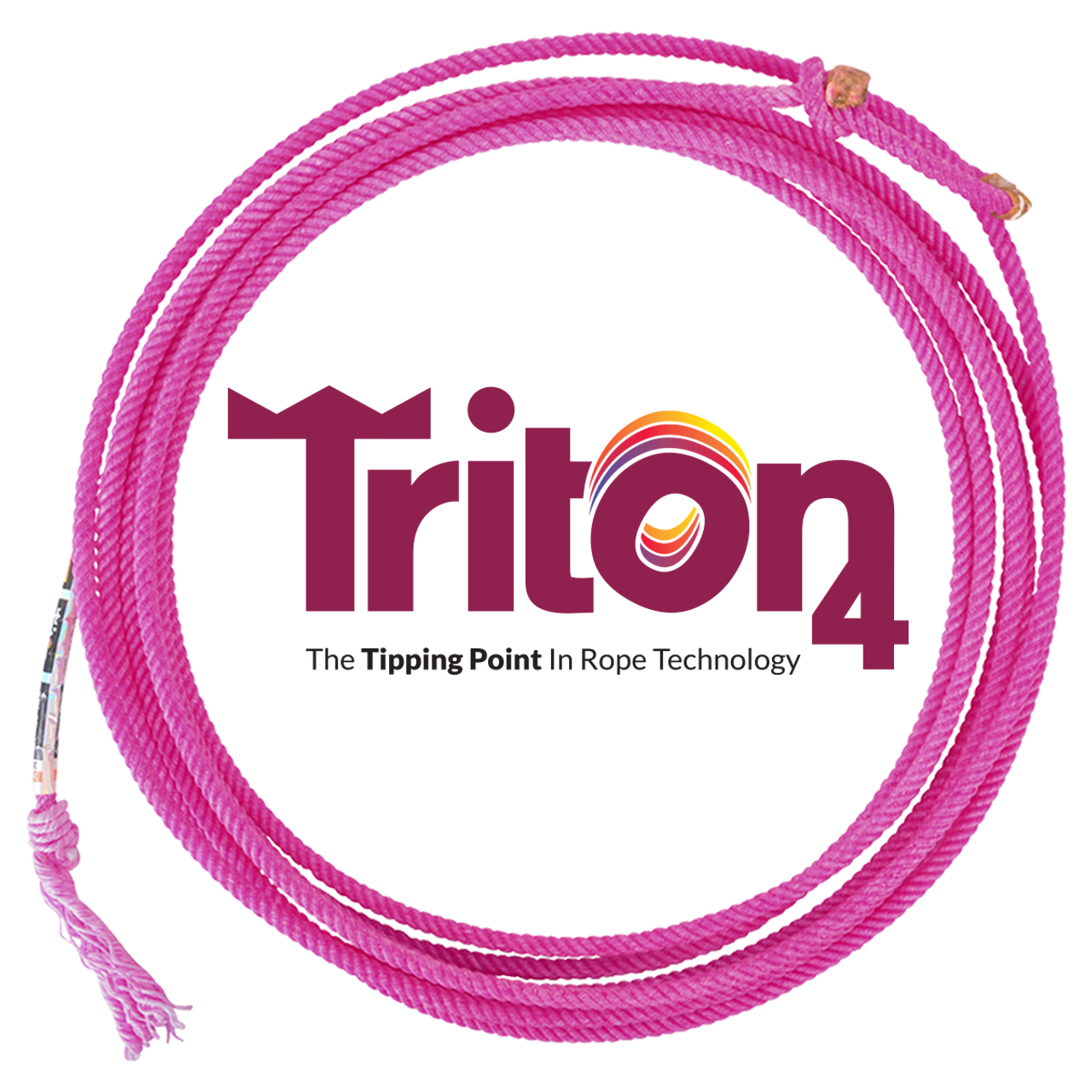 TRITON4 Triton is the new triple-threat in team roping. Created with an innovative blend of three unique fibers, the Triton is a four-strand head and heel rope ideal for any roper's arsenal. Each of the three fibers bring its individual element to the rope. The poly fiber increases the tip size and feel, nylon fiber one gives more body and twist for an open loop and zippy closure, and nylon fiber two adds forgiveness, consistency and overall balance to the blend. This recipe ensures the Triton's superior longevity and performance as Rattler Rope's newest winning weapon.