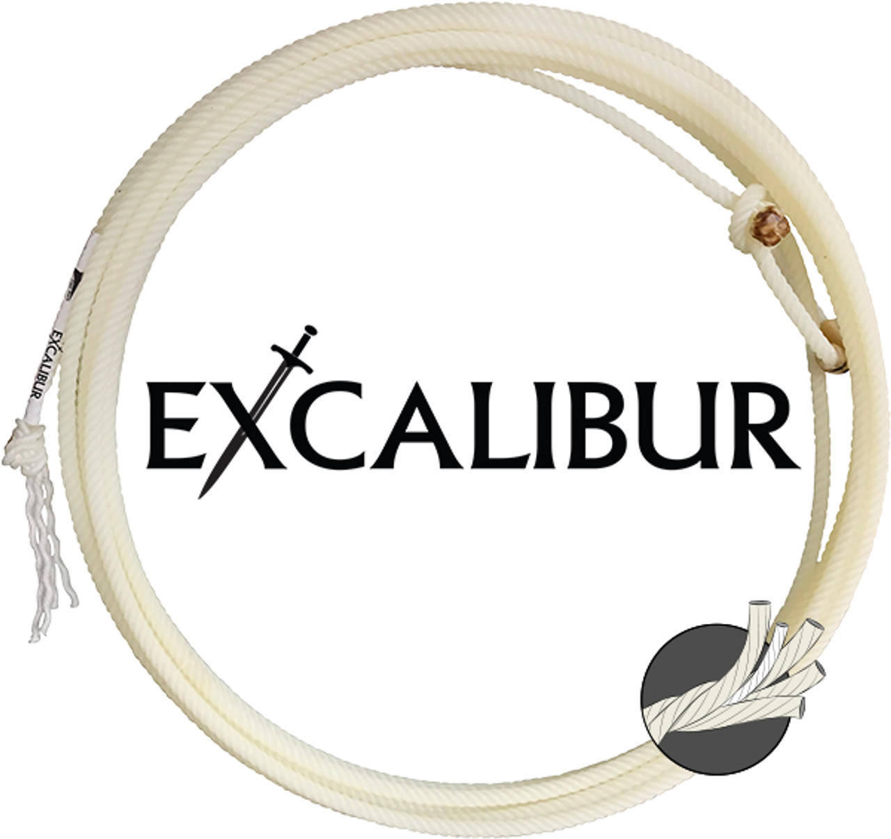 Excalibur The Excalibur is a poly-blend four-strand with a core interior that is natural in color for high visibility. The Excalibur appeals to team ropers who prefer a rope medium in size. The Excalibur is less affected by heat and direct sunlight due to the poly fiber.  Head ropes are 31' and come in XXS, XS, S, and MS. Heel ropes are 35' and come in S, MS, M, and HM.  4-STRAND NYLON/POLY BLEND AVAILABLE IN: Head and heel ropes with a core interior HEAD LAYS: XXS XS S MS HEAD LENGTH: 31' HEAD DIAMETER: Medium HEEL LAYS: S MS M HM HEEL LENGTH: 35' HEEL DIAMETER: Medium EVENT: Team Roping