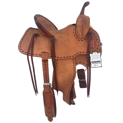 New Jackson Stock Saddle by Fort Worth Saddle Co with 13 inch seat.  All rough out with chocolate buckstich and pencil roll cantle.  Gullet size is 7.5 inch, weight is 29lbs, and skirt is 24 inch. Made in USA. Limited lifetime warranty.  S976