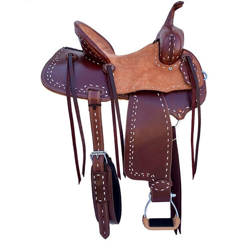 New Jackson Stock Saddle by Fort Worth Saddle Co with 14 inch seat.  Chestnut half breed with white buckstitch and silver dots. Gullet size is 7 inch, weight is 30lbs, and skirt is 24 inch. Made in USA. Limited lifetime warranty.  S983
