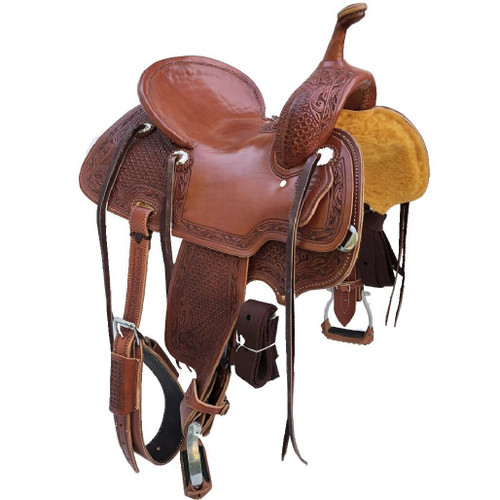 New Jackson Stock Saddle by Fort Worth Saddle Co with 14 inch seat.  Slick jockeys and seat, fully tooled fenders, pommel and skirt. Pencil roll.  Gullet size is 8 inch, weight is 27lbs, and skirt is 25 inch. Made in USA. Limited lifetime warranty.  S987