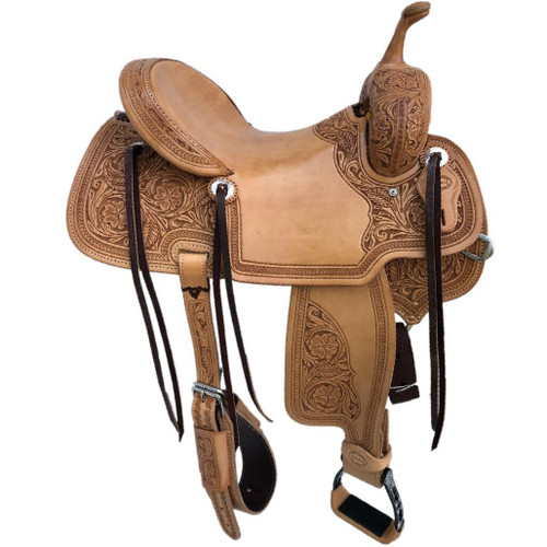 New Jackson Stock Saddle by Fort Worth Saddle Co with 14.5 inch seat.  Fully hand tooled except slick seat and jockeys and half-tooled fenders. Gullet size is 8 inch, weight is 27lbs, and skirt is 26 inch. Made in USA. Limited lifetime warranty.  S988