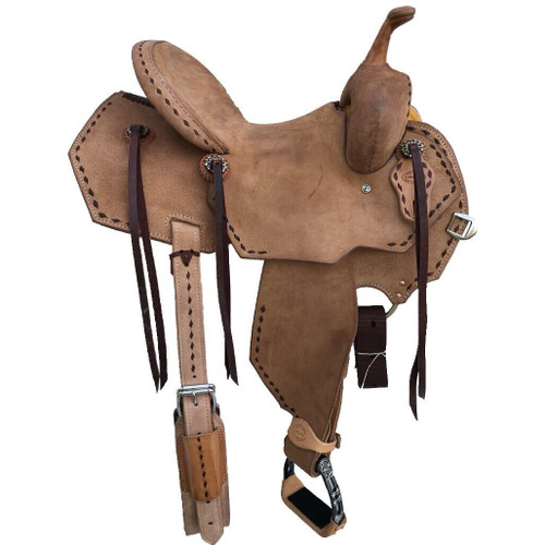 New Jackson Stock Saddle by Fort Worth Saddle Co with 13.5 inch seat.  Fuul roughout with contrasting buckstitch. Clipped corner skirt. Gullet size is 7 inch, weight is 27lbs, and skirt is 26 inch. Made in USA. Limited lifetime warranty.  S989