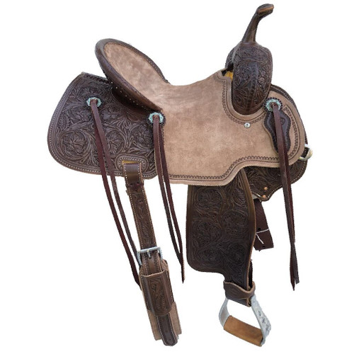 New Jackson Stock Saddle by Fort Worth Saddle Co with 14 inch seat.  Floral hand-tooling on skirt, fenders, flank billets and pommel. Pencil roll roughout seat. Gullet size is 7.5 inch, weight is 27lbs, and skirt is 26 inch. Made in USA. Limited lifetime warranty.  S991