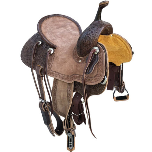 New Jackson Stock Saddle by Fort Worth Saddle Co with 13 inch seat.  Floral hand-tooling on skirt and pommel. Pencil roll with border tooled roughout seat and jockeys. Gullet size is 7.5 inch, weight is 27lbs, and skirt is 25 inch. Made in USA. Limited lifetime warranty.  S993