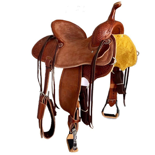 New Jackson Stock Saddle by Fort Worth Saddle Co with 15 inch seat.  Sorrel color, pencil roll cantle. Gullet size is 7.75 inch, weight is 28lbs, and skirt is 26 inch. Made in USA. Limited lifetime warranty.  S1004