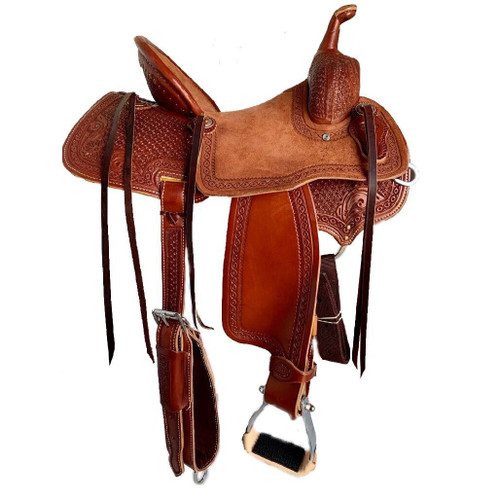 New Stock Saddle by Fort Worth Saddle Co with 14 inch seat. Sorrel leather. Pencil roll cantle. Roughout seat. Gullet size is 7.75 inch, weight is 28lbs, and skirt is 24 inch. Made in USA. Limited lifetime warranty.  S1005