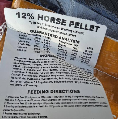 12% Horse Pellet 3% Fat