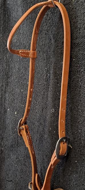 Berlin Rolled One Ear, double buckle, stainless steel hardware, headstall. Hermann Oak leather.