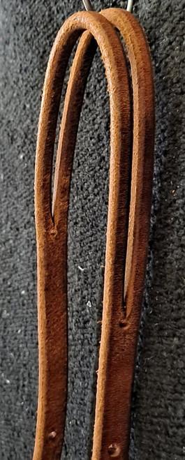 """Berlin double adjustable headstall, split ear, 5/8"""". Brass plated hardware."""
