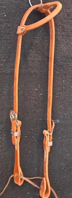 Berlin Leather Single Rolled Ear, Stainless Steel, Floral Buckle Headstall. Hermann Oak Leather.