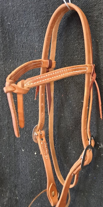 Berlin Leather Knotted Browband Headstall. Stainless Steel hardware. Hermann Oak Leather.