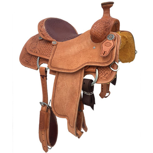 New Roping Saddle by Fort Worth Saddle Co with 14.5 inch seat. Light oil, real burgundy ostrich seat, half breed. Border tooled, all Hermann Oak leather.  Gullet size is 6.5 inch. Made in USA. Limited lifetime warranty.