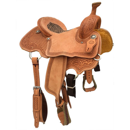 New Roping Saddle by Fort Worth Saddle Co with 14.5 inch seat. Light oil half breed with padded seat insert.  Gullet size is 6.5 inch. Made in USA. Limited lifetime warranty.