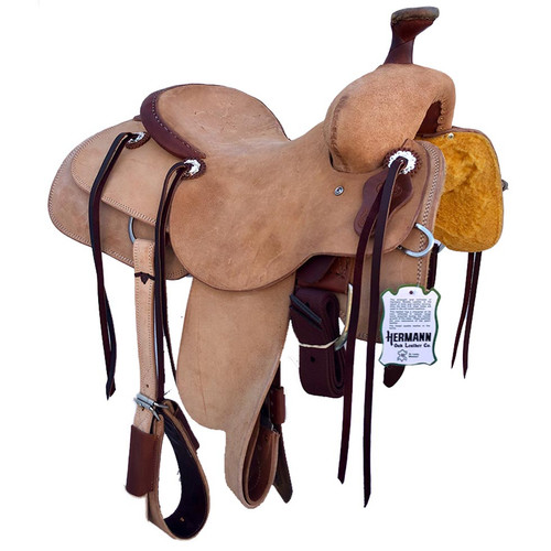 New Ranch Cutter by Fort Worth Saddle Co with 15 inch seat. Roughout construction. Gullet size is 6.5 inch. Made in USA. Limited lifetime warranty.