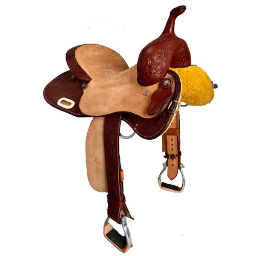 New Barrel Saddle by Fort Worth Saddle Co with 14 inch seat.  Exposed stirrup leathers. Gullet size is 7.5 inch. Made in USA. Limited lifetime warranty.  S581