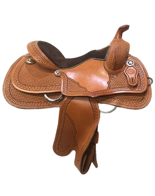 """Reining saddle made in USA by Ft Worth Saddle Co. 14.5"""" seat, 6.5"""" gullet. Limited lifetime warranty on tree."""