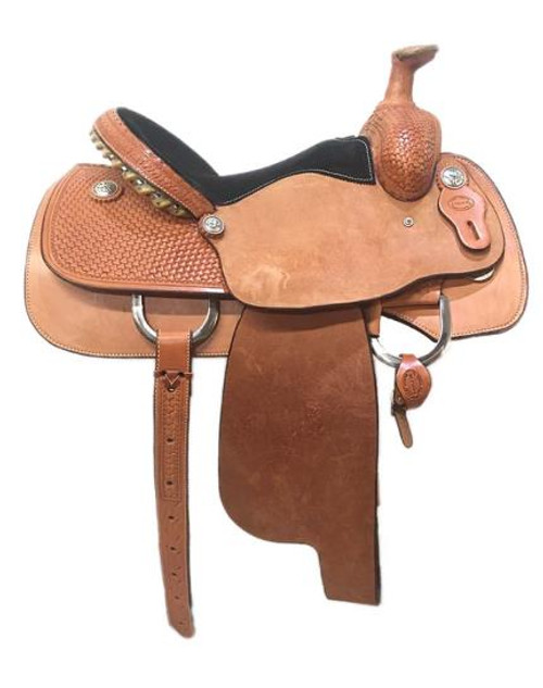 """Fort Worth Saddle Co Roping Saddle. 15"""" seat and 7"""" gullet. Metal wrapped rawhide Cheyenne roll cantle."""
