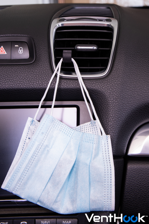 VENT HOOK  | All Purpose Car Dashboard Hangers for Masks, Cables, Air Fresheners, Bins,Garbage bags