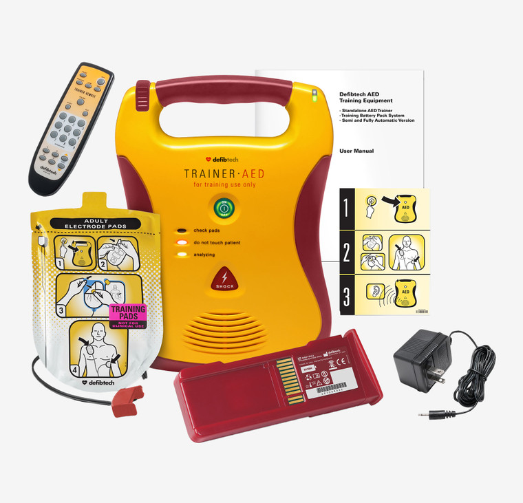 Defibtech AED Trainer, Remote Control, Pads, Battery & Charger