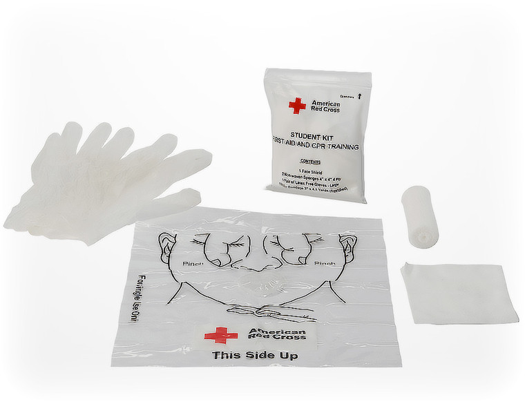 CPR & FIRST AID TRAINING KIT INCLUDING FACE SHIELD, GLOVES AND GAUSE