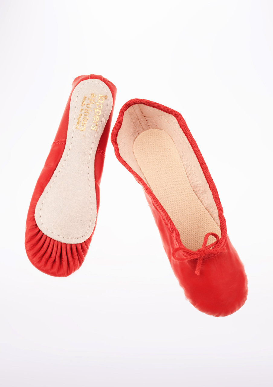 RED LEATHER FULL SUEDE SOLED BALLET SHOES WITH ELASTICS LOOSE