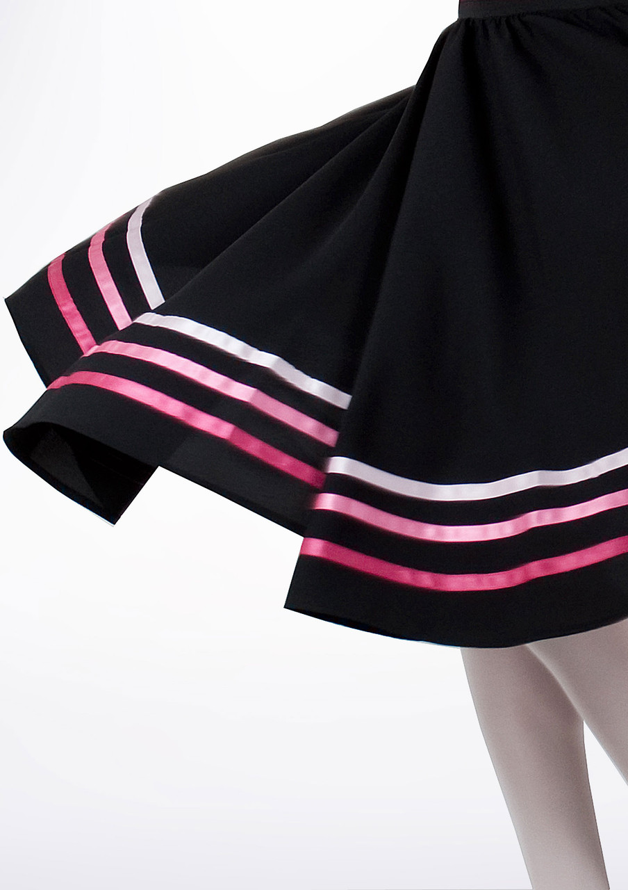 RAD style Black Character Skirt with Bright Coloured Ribbons Burgundy//Wine Purple and Blue