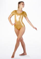 Alegra Metallic Rosalie Leotard Gold front. [Gold]