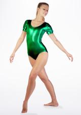 Alegra Metallic Rosalie Leotard Green front #2. [Green]