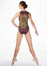 Ballet Rosa Floral Print Tank Leotard Purple back. [Purple]