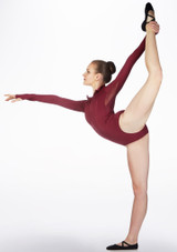 Capezio Encryption Long Sleeve Leotard Red side. [Red]