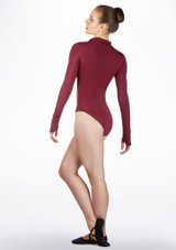 Capezio Encryption Long Sleeve Leotard Red back. [Red]