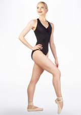 Ballet Rosa Loop Back Leotard Black front. [Black]