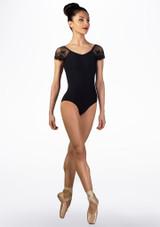 Ballet Rosa Lace Cap Sleeve Leotard Black front. [Black]