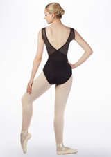 Grishko Layered Mesh V Back Leotard Black back. [Black]