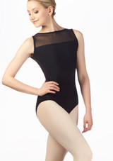 Grishko Layered Mesh V Back Leotard Black front. [Black]