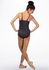 Ballet Rosa Geometric Shimmer Leotard Grey back. [Grey]