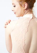 Ballet Rosa High Neck Lace Leotard Pink front. [Pink]