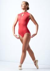 Ballet Rosa Celestine Keyhole Turtleneck Leotard Coral Front-1 [Coral]