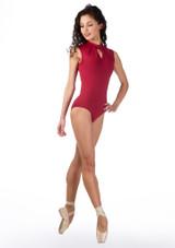 Ballet Rosa Keyhole Turtleneck Leotard Red front. [Red]