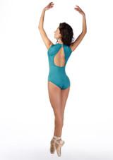 Ballet Rosa Keyhole Turtleneck Leotard Blue back. [Blue]