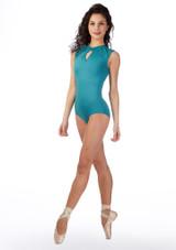 Ballet Rosa Keyhole Turtleneck Leotard Blue front. [Blue]